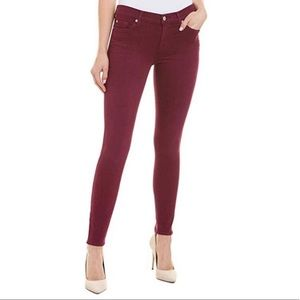 7 For All Mankind Ankle Skinny Jeans in Burgundy